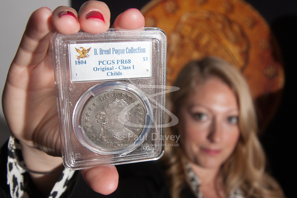 London, March13th 2015. Ahead of the first sale of the D. Brent Pogue rare United States Federal coin  collection sale to be held at Sotheby's  New York. The collection is composed of over 650 gold, silver, and copper coins, and is expected to be the most valuable collection of coins ever sold. PICTURED: The 1804 Silver Dollar originally presented to the Sultan of Muscat in 1835. It is anticipated to fetch up to $10 million at auction.