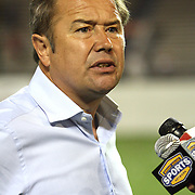 Orlando City Lions head coach Adrian Heath speaks to television after winning a United Soccer League Pro soccer match between the Richmond Kickers and the Orlando City Lions at the Florida Citrus Bowl on May 25, 2011 in Orlando, Florida.  (AP Photo/Alex Menendez)
