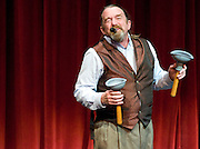 NEWS&GUIDE PHOTO / PRICE CHAMBERS<br /> Bob Berky leaves the audience in stiches as he clowns through an impressive act at the JH Showcase on Friday at Center for the Arts. The award-winning playwright performs internationally, mixing juggling and prop work with the impromptu humor of a kazoo voice.