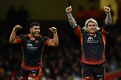 27th April 2019 , Principality Stadium , Cardiff, Wales ; Guinness pro 14's, Round 21, Dragons vs Scarlets ; Richard Hibbard and Leon Brown of Dragons celebrate there win over the Scarlets<br /> <br /> Credit :  Craig Thomas/Replay Images