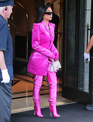 Kim Kardashian with pink outfits leaving her hotel in Midtown, New York, NY on October 7, 2021. Photo by Dylan Travis/ABACAPRESS.COM