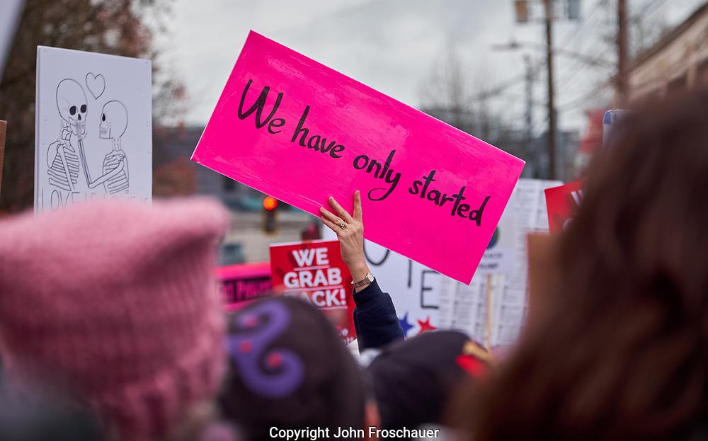 Women's march protesting President Donald Trump Saturday, Jan. 20, 2018, in Seattle. (Photo/John Froschauer)