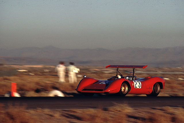 Chris Amon in Ferrari 612P making its debut in the Can-Am at Las Vegas in 1968. This photo was made in practice. The car was eliminated from the race in a first-turn accident.