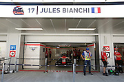 team MARUSSIA; the car of Jules BIANCHI in the garage of Sochi <br /> SOCHI 10.10.2014, Formula1 in the Olympic Parc, <br /> F1, SOCHI race course, RUSSIA, Sotschi, Formel 1 in Russland, Honorarpflichtiges Foto, <br /> Fee liable image, Copyright © ATP  PARIENTE Jean-Philippe