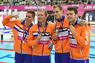 The Nederlands win gold in the 4x200 Freestyle during Day 13 of the 2016 LEN European Aquatics Championship Swimming Finals at the London Aquatics Centre, London, United Kingdom on 21 May 2016. Photo by Martin Cole.