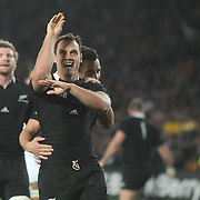 Israel Dagg, New Zealand, celebrates after scoring a try during the New Zealand V France, Pool A match during the IRB Rugby World Cup tournament. Eden Park, Auckland, New Zealand, 24th September 2011. Photo Tim Clayton...