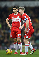 Middlesbrough's Stewart Downing and  Grant Leadbitter  <br /> <br /> Photographer Jon Hobley/CameraSport<br /> <br /> The EFL Sky Bet Championship - Norwich City v Middlesbrough - Saturday 3rd February 2018 - Carrow Road - Norwich<br /> <br /> World Copyright © 2018 CameraSport. All rights reserved. 43 Linden Ave. Countesthorpe. Leicester. England. LE8 5PG - Tel: +44 (0) 116 277 4147 - admin@camerasport.com - www.camerasport.comMiddlesbrough's Stewart Downing, Grant Leadbitter <br /> <br /> Photographer Jon Hobley/CameraSport<br /> <br /> The EFL Sky Bet Championship - Norwich City v Middlesbrough - Saturday 3rd February 2018 - Carrow Road - Norwich<br /> <br /> World Copyright © 2018 CameraSport. All rights reserved. 43 Linden Ave. Countesthorpe. Leicester. England. LE8 5PG - Tel: +44 (0) 116 277 4147 - admin@camerasport.com - www.camerasport.com
