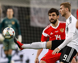 November 15, 2018 - Leipzig, Germany - Timo Werner (R) of Germany and Georgi Dzhikiya of Russia vie for the ball during the international friendly match between Germany and Russia on November 15, 2018 at Red Bull Arena in Leipzig, Germany. (Credit Image: © Mike Kireev/NurPhoto via ZUMA Press)