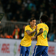 Brazil's Roberto Firmino (L) during their a international friendly soccer match Turkey betwen Brazil at Sukru Saracoglu Arena in istanbul November 12, 2014. Photo by Aykut AKICI/TURKPIX