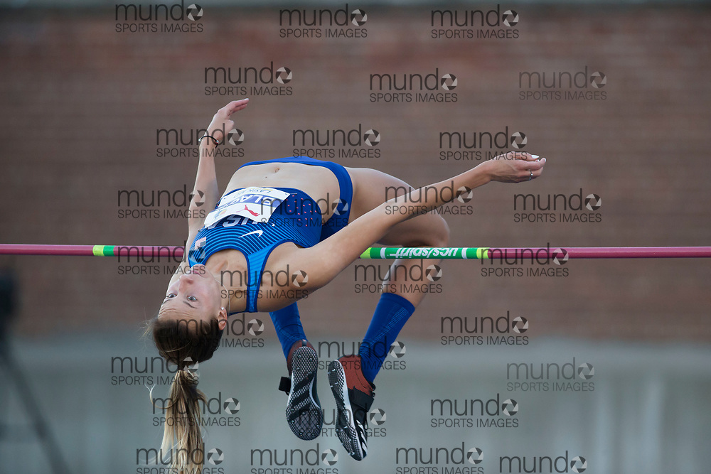 Toronto, ON -- 10 August 2018: Loretta Blaut (USA), high jump at the 2018 North America, Central America, and Caribbean Athletics Association (NACAC) Track and Field Championships held at Varsity Stadium, Toronto, Canada. (Photo by Sean Burges / Mundo Sport Images).