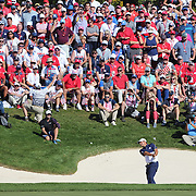 Ryder Cup 2016. Day Three. Patrick Reed of the United States chips out of the sand trap on the sixteenth during his win against Rory McIlroy of Europe in the Sunday singles competition at  the Ryder Cup tournament at Hazeltine National Golf Club on October 02, 2016 in Chaska, Minnesota.  (Photo by Tim Clayton/Corbis via Getty Images)