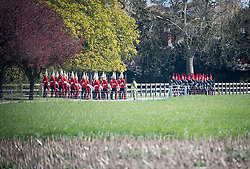© Licensed to London News Pictures. 17/04/2021. Windsor, UK. Guards are seen rehearsing within the grounds of the Windsor Castle estate, in Windsor, Berkshire, ahead of the funeral of Prince Philip, The Duke of Edinburgh. Prince Philip, the Consort of the longest reigning English monarch in history, Queen Elizabeth II, died on 9 April 2021, two months before his 100th birthday. . Photo credit: Ben Cawthra/LNP
