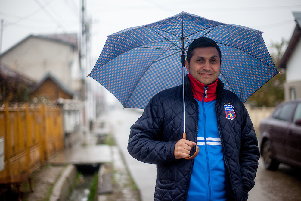Portrait of Dumitru Nica Florin who is one of six elected Roma local councilors in the village of Marginenii de Jos, beside this he is trainer of the local football team.