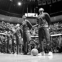 22 November 2016:  The Chicago Bulls team stands during the national anthem prior to the Denver Nuggets 110-107 victory over the Chicago Bulls, at the Pepsi Center, Denver, Colorado, USA.