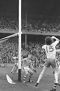 Kerry goalie at the edge of the goal waiting to save the ball during the All Ireland Minor Gaelic Football Final, Tyrone v Kerry in Croke Park on the 28th September 1975.