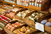 A collection of handmade soaps at an outdoor market in Gordes, France