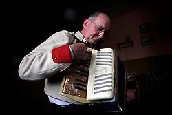 CZECH REPUBLIC MORAVIA BANOV 5APR10 - Folk musician Jiri Chovanec is sunk deep into his play on the accordeon during traditional Easter Monday celebrations in Banov, Moravia, Czech Republic.<br /> <br /> jre/Photo by Jiri Rezac<br /> <br /> © Jiri Rezac 2010