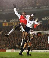 Kanu (Arsenal) Les Ferdinand And Chris Perry (Tottenham). Tottenham 1:1 Arsenal, FA Carling Premiership, 18/12/2000. Credit Colorsport / Stuart MacFarlane.