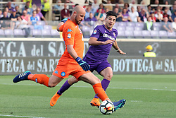 April 29, 2018 - Florence, Florence, Italy - 29th April 2018, Stadio Artemio Franchi, Florence, Italy; Serie A Football, Fiorentina versus Napoli; (L-R) Pepe Reina of Napoli is challenged by Giovanni Pablo Simeone of Fiorentina  Credit: Giampiero Sposito/Pacific Press (Credit Image: © Giampiero Sposito/Pacific Press via ZUMA Wire)