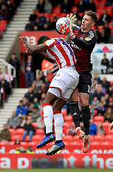 Stoke City's Bruno Martins Indi attempted header is saved by Sheffield United's goal keeper Dean Henderson