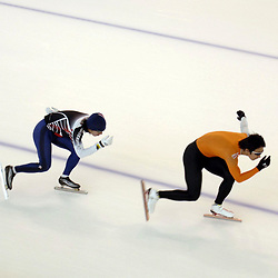 Calgary, Alberta  July 27 2005: Olympic-caliber speed skaters from Japan practice on the Olympic oval at the University of Calgary for the upcoming speedskating season. The oval was built for the 1988 Calgary Olympics and is a popular training venue for world-class athletes. <br /> ©Bob Daemmrich