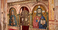 Pictures & images of the iconostasis screen mosaics in the Gelati Georgian Orthodox Church St George, 13th century depicting Christ Pantocrator and the Theotokos, depicting the Virgin Mary, the  Mother of God.  The medieval Gelati monastic complex near Kutaisi in the Imereti region of western Georgia (country). A UNESCO World Heritage Site. .<br /> <br /> Visit our MEDIEVAL PHOTO COLLECTIONS for more   photos  to download or buy as prints https://funkystock.photoshelter.com/gallery-collection/Medieval-Middle-Ages-Historic-Places-Arcaeological-Sites-Pictures-Images-of/C0000B5ZA54_WD0s<br /> <br /> Visit our REPUBLIC of GEORGIA HISTORIC PLACES PHOTO COLLECTIONS for more photos to browse, download or buy as wall art prints https://funkystock.photoshelter.com/gallery-collection/Pictures-Images-of-Georgia-Country-Historic-Landmark-Places-Museum-Antiquities/C0000c1oD9eVkh9c