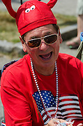BAR HARBOR, MAINE, July 4, 2014. A well-dressed spectator at the Independence Day Parade