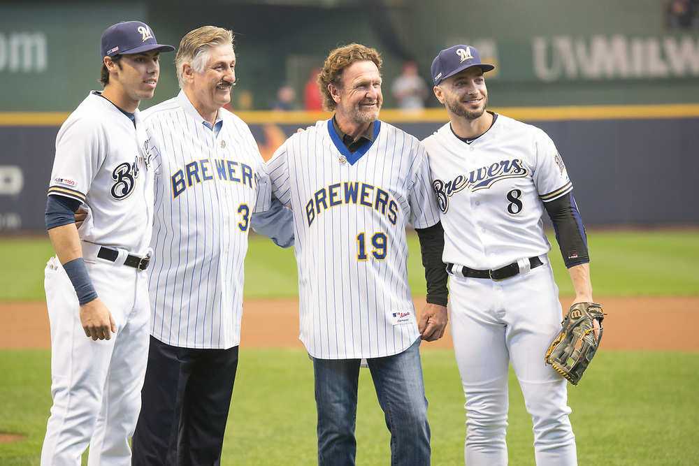 Four Brewers MVPs (Yelich, Yount, Fingers, Braun) during the Milwaukee Brewers' Opening Day 2019.