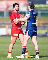 Rugby Union - 2020 / 2021 IPA Greene King Championship - Doncaster Knights vs Saracens - Castle Park, Doncaster.<br /> <br /> The players shake hands at full time <br /> <br /> Credit : COLORSPORT/BRUCE WHITE