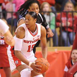 Feb 21, 2009; Piscataway, NJ, USA; Rutgers center Kia Vaughn (15) controls a defensive rebound during the second half of Rutgers' 55-42 victory over Providence at the Louis Brown Athletic Center.