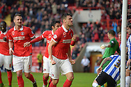 Johnnie Jackson, the Charlton Athletic Captain celebrates after he scores his teams 1st goal of the match from a corner to make it 1-0.Skybet football league championship match, Charlton Athletic v Sheffield Wednesday at The Valley  in London on Saturday 7th November 2015.<br /> pic by John Patrick Fletcher, Andrew Orchard sports photography.