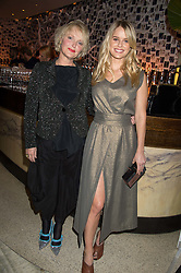 Left to right, MIRANDA RICHARDSON and ALICE EVE at a party to celebrate the 10th anniversary of Nobu Berkeley Street held on 5th November 2015.
