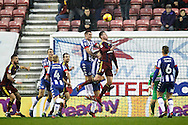 Wigan's Jake Buxton (3) and Ipswich's Adam Webster (15) during the EFL Sky Bet Championship match between Wigan Athletic and Ipswich Town at the DW Stadium, Wigan, England on 17 December 2016. Photo by Craig Galloway.