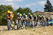 France, Grabels, 7 July 2009: Astana head out of Grabels during Stage 4 of the 2009 Tour de France cycle race. This stage was the Team Time Trial and started and ended in Montpellier and was 39km long. Photo by Peter Horrell / http://peterhorrell.com .