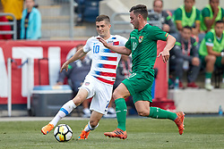 May 28, 2018 - Chester, PA, U.S. - CHESTER, PA - MAY 28: United States midfielder Christian Pulisic (10) battles with Bolivia midfielder Fernando Saucedo  (10) during the international friendly match between the United States and Bolivia at the Talen Energy Stadium on May 28, 2018 in Chester, Pennsylvania. (Photo by Robin Alam/Icon Sportswire) (Credit Image: © Robin Alam/Icon SMI via ZUMA Press)