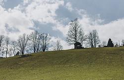THEMENBILD - Baumreihe und ein Heustadl auf einer Bergwiese, am Himmel ziehen Wolken, aufgenommen am 03. April 2020 in Kaprun, Oesterreich // Row of trees and a hayloft on a mountain meadow, clouds in the sky, in Kaprun, Austria on 2020/04/03. EXPA Pictures © 2020, PhotoCredit: EXPA/Stefanie Oberhauser