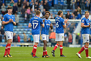 Portsmouth Forward, Jamal Lowe (18) scorer of 2 goals celebrates at full time during the EFL Sky Bet League 1 match between Portsmouth and Fleetwood Town at Fratton Park, Portsmouth, England on 16 September 2017. Photo by Adam Rivers.