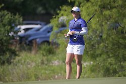 May 6, 2018 - The Colony, TX, U.S. - THE COLONY, TX - MAY 06: Katie Burnett (USA) checks her notes on the 9th green during the Volunteers of America LPGA Texas Classic on May 6, 2018 at the Old American Golf Club in The Colony, TX. (Photo by George Walker/Icon Sportswire) (Credit Image: © George Walker/Icon SMI via ZUMA Press)
