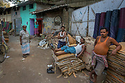 Spontaneous portrait of a group of cardboard recycling workers, Jorasanko,Calcutta