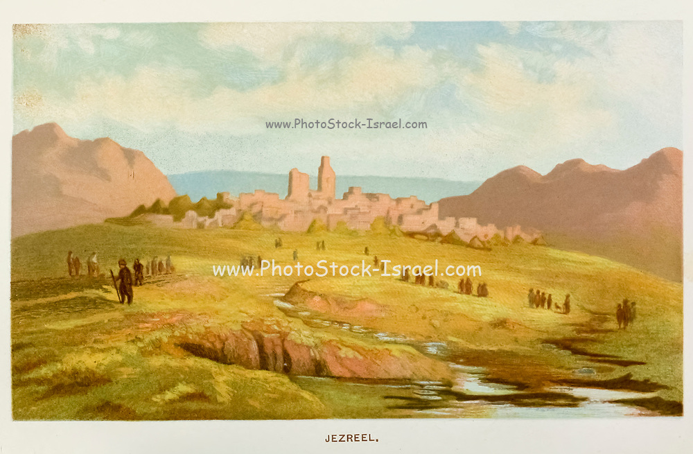 Jezreel [was an ancient Israelite city and fortress that the Hebrew Bible places within the boundaries of the Tribe of Issachar] Coloured Illustration of from the book Palestine illustrated by Sir Richard Temple, 1st Baronet, GCSI, CIE, PC, FRS (8 March 1826 – 15 March 1902) was an administrator in British India and a British politician. Published in London by W.H. Allen & Co. in 1888