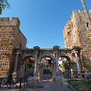 Hadrian's gate triumphal arches in Antalya old town, Turkey