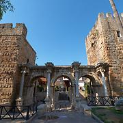 Hadrian's gate triumphal arches in Antalya old town, Turkey