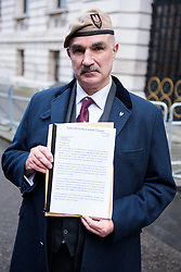 © Licensed to London News Pictures. 26/04/2016. London, UK. <br /> <br /> Robin Horsfall, former 22 SAS before handing in a Petition 'Justice for Northern Ireland Veterans' to No 10 Downing St.  <br />  Photo credit: Anthony Upton/LNP