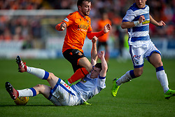 Dundee United's Paul McMullan tackled by Morton's Lewis Strapp who was injured. Dundee United 6 v 0 Morton, Scottish Championship game played 28/9/2019 at Dundee United's stadium Tannadice Park.