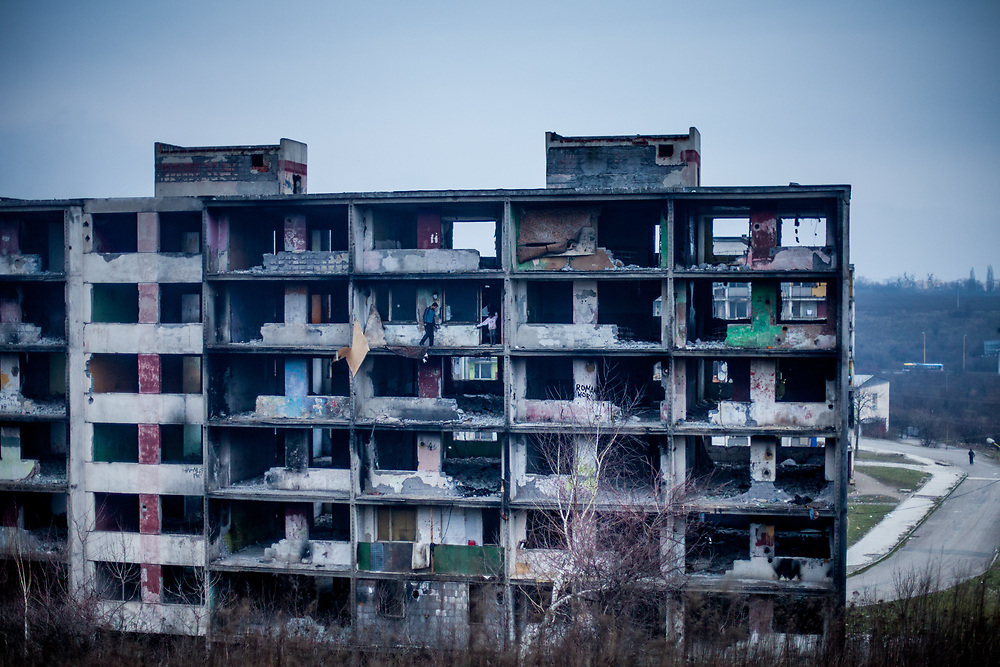 """The decrepit highrise building """"Hrebenova 34-36"""" in January 2014 seen from the backside. The building was later on demolished by the city of Kosice in August 2014. Lunik IX has officially 6542 registered (12/2015) inhabitants and almost all of them are of Roma ethnicity."""