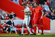 Steve McManaman of Real Madrid legends team laughs as he  is held by John Aldridge of Liverpool legends team. Liverpool Legends  v Real Madrid Legends, Charity match for the LFC Foundation at the Anfield stadium in Liverpool, Merseyside on Saturday 25th March 2017.<br /> pic by Chris Stading, Andrew Orchard sports photography.