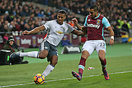 Luis Antonio Valencia of Manchester United is challenged by Dimitri Payet of West Ham United. Premier league match, West Ham Utd v Manchester Utd at the London Stadium, Queen Elizabeth Olympic Park in London on Monday 2nd January 2017.<br /> pic by John Patrick Fletcher, Andrew Orchard sports photography.