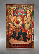 Gothic Altarpiece of the Madonna Nursing or Madonna Lactans, by Ramon de Mur, active around Tarrega and Montblanc circa 1412-1435, tempera and gold leaf on for wood, from the parish church of Santa Maria de Cervera (Segarra),  National Museum of Catalan Art, Barcelona, Spain, inv no: MNAC  15818. Against a grey art background. . .<br /> <br /> If you prefer you can also buy from our ALAMY PHOTO LIBRARY  Collection visit : https://www.alamy.com/portfolio/paul-williams-funkystock/gothic-art-antiquities.html  Type -     MANAC    - into the LOWER SEARCH WITHIN GALLERY box. Refine search by adding background colour, place, museum etc<br /> <br /> Visit our MEDIEVAL GOTHIC ART PHOTO COLLECTIONS for more   photos  to download or buy as prints https://funkystock.photoshelter.com/gallery-collection/Medieval-Gothic-Art-Antiquities-Historic-Sites-Pictures-Images-of/C0000gZ8POl_DCqE