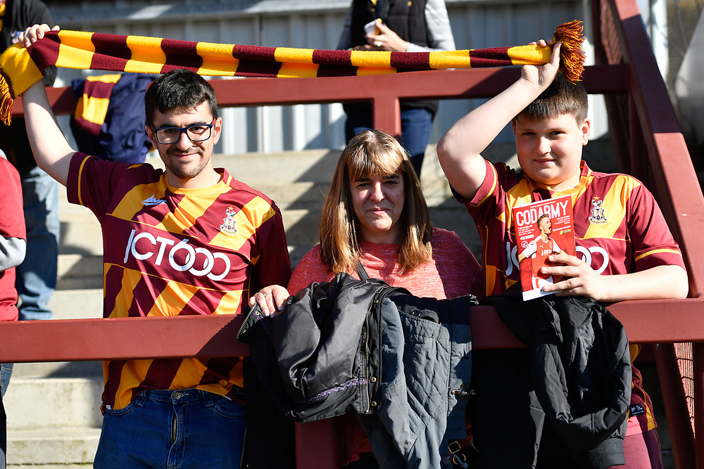 Bradford City Fans at Fleetwood Town<br /> <br /> Photographer Terry Donnelly/CameraSport<br /> <br /> The EFL Sky Bet League One Play-Off Second Leg - Fleetwood Town v Bradford City - Sunday 7th May 2017 - Highbury Stadium - Fleetwood<br /> <br /> World Copyright © 2017 CameraSport. All rights reserved. 43 Linden Ave. Countesthorpe. Leicester. England. LE8 5PG - Tel: +44 (0) 116 277 4147 - admin@camerasport.com - www.camerasport.com