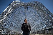 Moon Express CEO Bob Richards stands for a portrait near Moffett Field's Hangar One at Moffett Field in California, on May 9, 2017. (Stan Olszewski/SOSKIphoto)